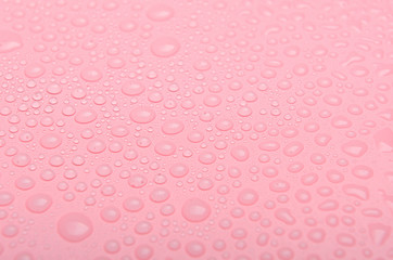 Water drops on a pink background. Close up