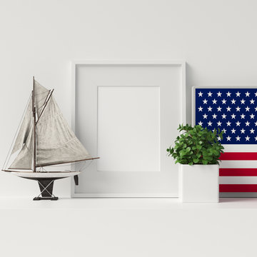 Veterans Day Decoration Mock Up Poster Frame