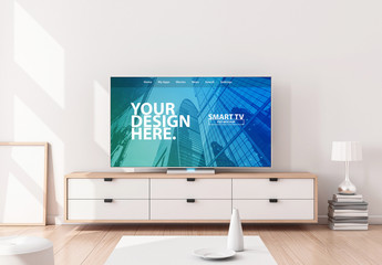 Smart TV on Console in Living Room Mockup