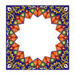 Arabic arabesque decorative texture Islamic ornamental colorful design detail of mosaic illustration geometric