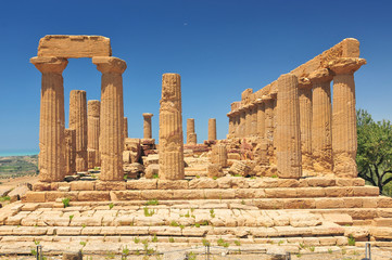 Ancient greek Temple of Juno Agrigento Sicily Italy.