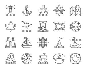 Marine simple black line icons vector set