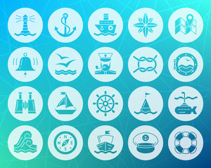 Marine shape carved flat icons vector set