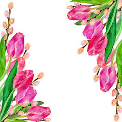 Watercolor floral card with place for text. Can be used for wedding invitations, greeting cards, save the date invitation, prints, postcards. Frame with tulips and branches.