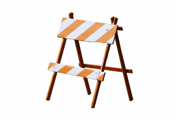 Orange and white painted vintage wooden road block or barrier as wood frame barricade with four legs isolated on a seamless white background.