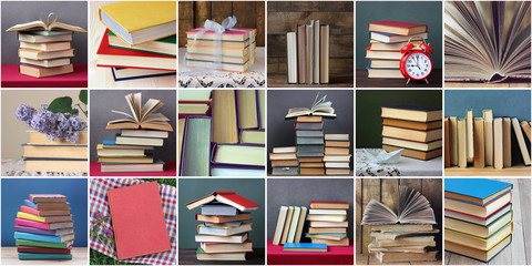 Collage with books. You can make a seamless background.