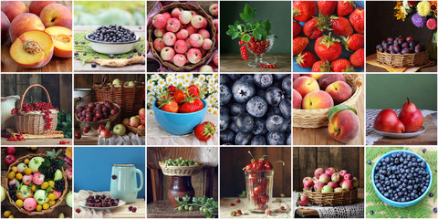 Collage with fruits and berries: set of square pictures.