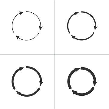 Three circle clockwise arrows black icon set. vector illustration isolated on white background.