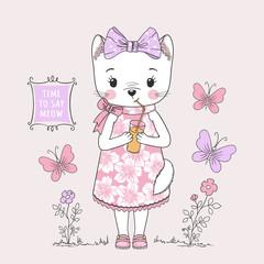 Cute cat girl. Little kitty drinking juice. Vector illustration for children print design