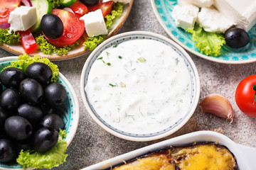 Tzatziki sauce and traditional greek dishes