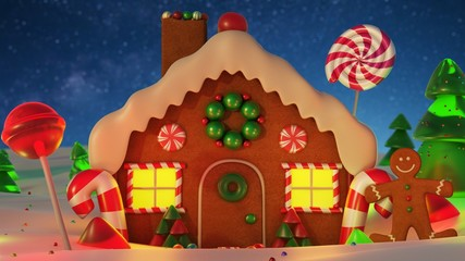 Gingerbread house Christmas night scene backgound, snowy night with stars. 3d rendering.