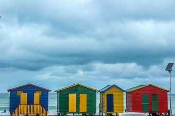 Colorful changing rooms in St James beach Cape Town