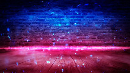 Brick wall, background, neon light, smoke