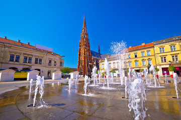 Osijek main square fountain and cathedral view