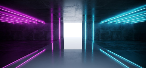 Purple Blue Neon Glowing Tubes Futuristic Modern Empty Sci Fi Grunge Concrete Reflective Room With White Lights And Stage Arena Background Spaceship Glowing White Rectangle Light 3D Rendering