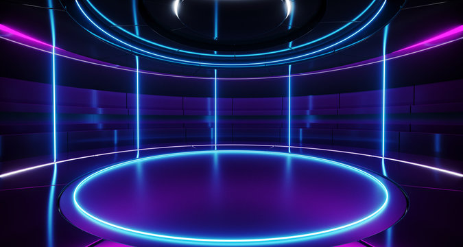 Modern Alien Futuristic Sci Fi Retro Round Empty Stage Hi-Tech Room With Purple And Blue Neon Light Tubes Glowing Presenting Concept Technology 3D Rendering