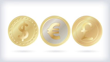 World currencies Dollar, Euro and Pound sterling golden coins set isolated on white background. Realistic vector illustration