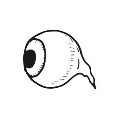eye with eyelashes sketch icon. isolated object on white background