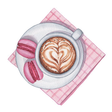 Watercolor cappuccino coffee with macarons