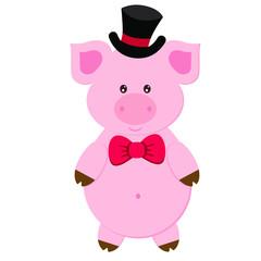 happy vector pig