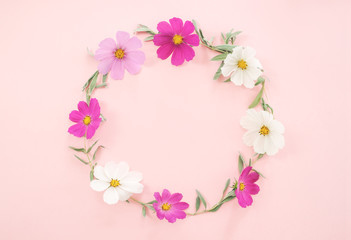 fresh Flowers composition. Wreath made of various pink flowers kosmey on pink background.