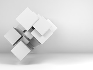 Cubes in empty interior. 3d render