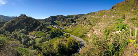 Panorama der Weinberge im Ahrtal auf dem Rotweinwanderweg bei Mayschoss