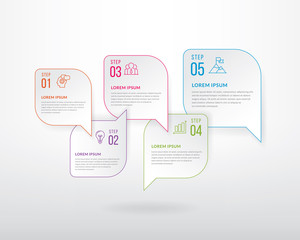 Business infographic design template. Business infographic with icons and 5 options or steps. Can be used for process, diagram, presentations, workflow layout, banner, flowchart, info graph