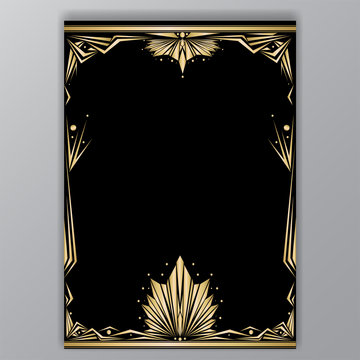 Art deco getle border a4 tamplate