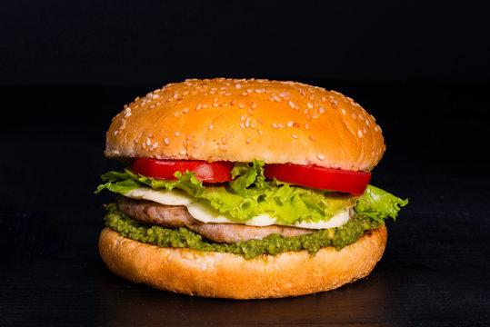 Chicken burger with mozzaella