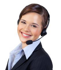 Smilling Businesswoman Talking on Headset