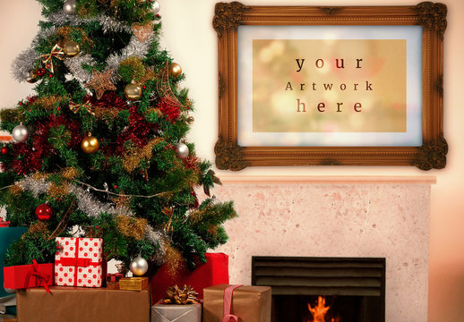 Frame on Wall with Holiday Decorations Mockup