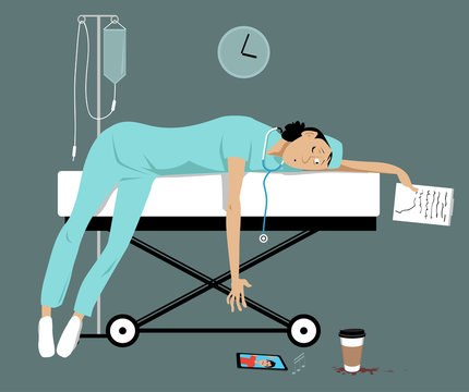 Exhausted overworked female doctor or intern lying on a gurney, her son is calling her on a smartphone, EPS 8 vector illustration
