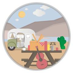 Cartoon outdoor camping illustration in desert