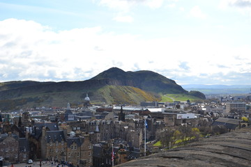 the Arthur Seat Hill and the Old city of Edinburgh