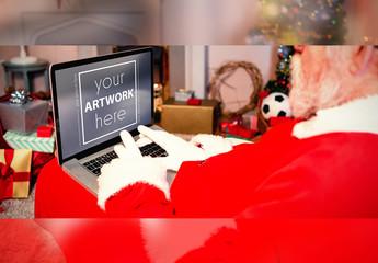 Santa Claus Using Laptop Mockup