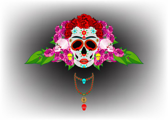 Mexican skull, Calavera with flowers. Decoration for Day of the Dead, Dia de los Muertos. Halloween poster background, greeting card or t-shirt design. Vector skulls isolated