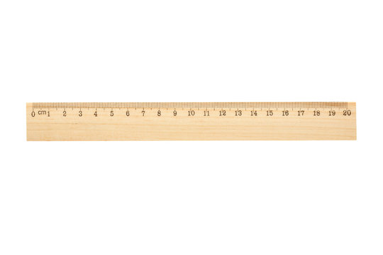wooden ruler isolated on white background, 20 cm