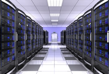 network workstation server room 3d illustration