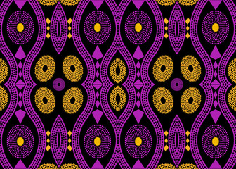 African Print fabric, Ethnic handmade ornament for your design, Ethnic and tribal motifs geometric elements. Vector texture, afro textile Ankara fashion style. Pareo wrap dress, batik color style Wall mural