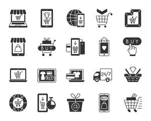 Online Shop black silhouette icons vector set