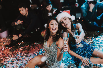 Two Young Women Celebrating New Year on Party.