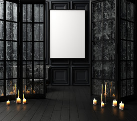 Mock-up poster in dark interior background with candles, 3d render