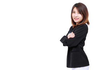 Happy successful young business woman looking at camera isolated on white background.