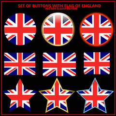 Set of banners with flag of England.
