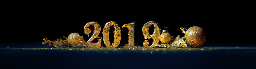 2019 in sparkling gold numbers celebrating the New Year Fototapete
