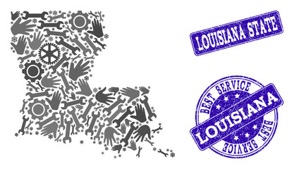 Foto op Plexiglas Art Studio Best service combination of mosaic map of Louisiana State and blue unclean seal stamps. Mosaic map of Louisiana State designed with gray gears and wrenches.