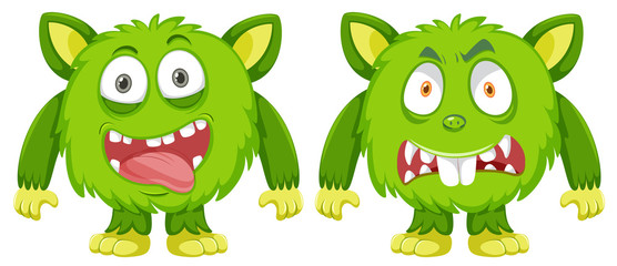Happy and angry green monster