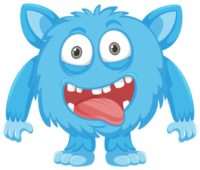 A blue monster on white background