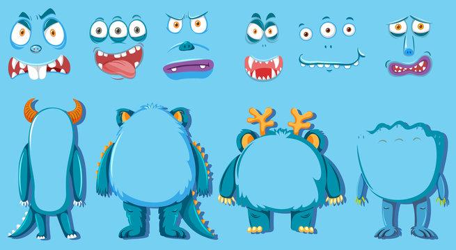 Set of monster body part